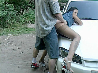Outdoor Sex : Girls are wild about lad with cars and acquiescent tools!