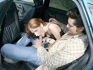 Crazy fuck for red haired teen in the open car - Honest fuck for red haired teen in the open car