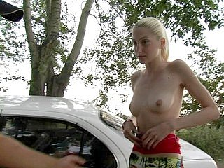 Thin blonde amateur shows her nude body for cash