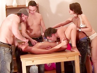 Party Hardcore : Birthday porn present for hot creamy babe!