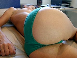 Green panty in close-ups